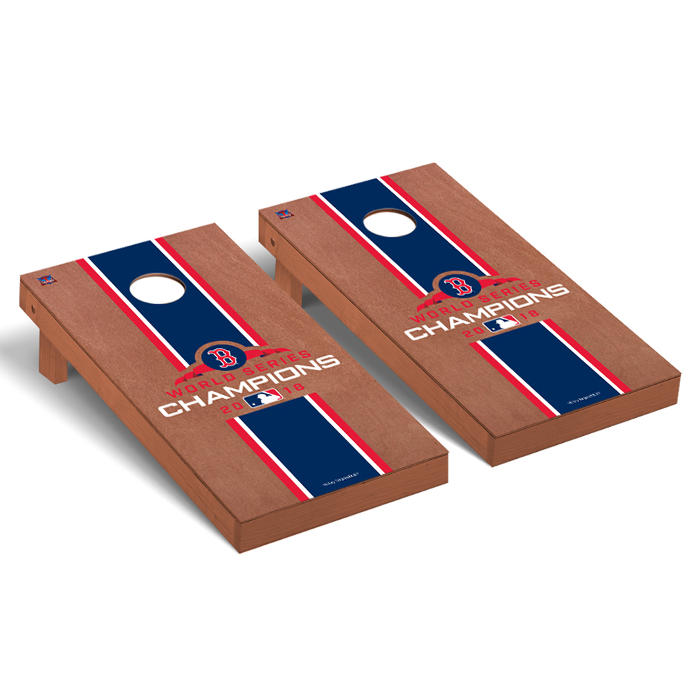 Boston Red Sox 2018 World Series Champions Rosewood Stripe Regulation Cornhole Board - No Size