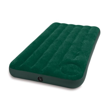 Intex Twin Inflatable Downy Outdoor Camping Air Mattress with Built-In Foot Pump ()