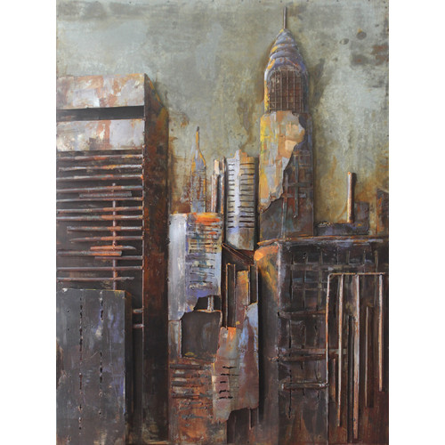 Empire Art Direct ''The Chrysler Building'' Mixed Media Iron Hand Painted Dimensional Wall D cor