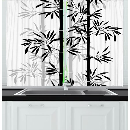 Tree of Life Curtains 2 Panels Set, Silhouette of Spiritual Bamboo Tree Leaves Japanese Zen Feng Shui Boho Image, Window Drapes for Living Room Bedroom, 55W X 39L Inches, Black White, by
