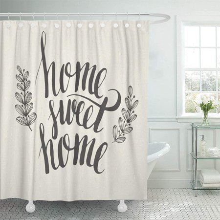 (PKNMT Quote Sweet Lettering Word Housewarming Heart Text Graphic Love Letter Waterproof Bathroom Shower Curtains Set 66x72 inch)