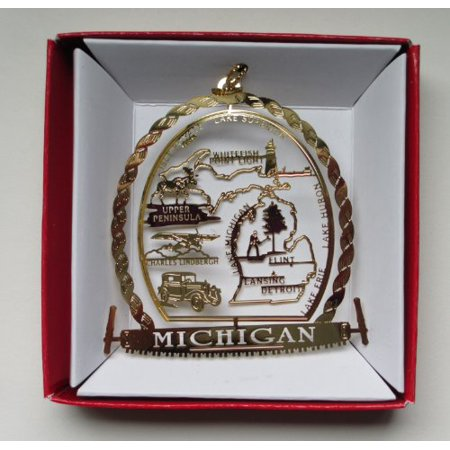 Michigan State Ornament Detroit Flint Great Lakes Lansing Travel Souvenir Gift ()