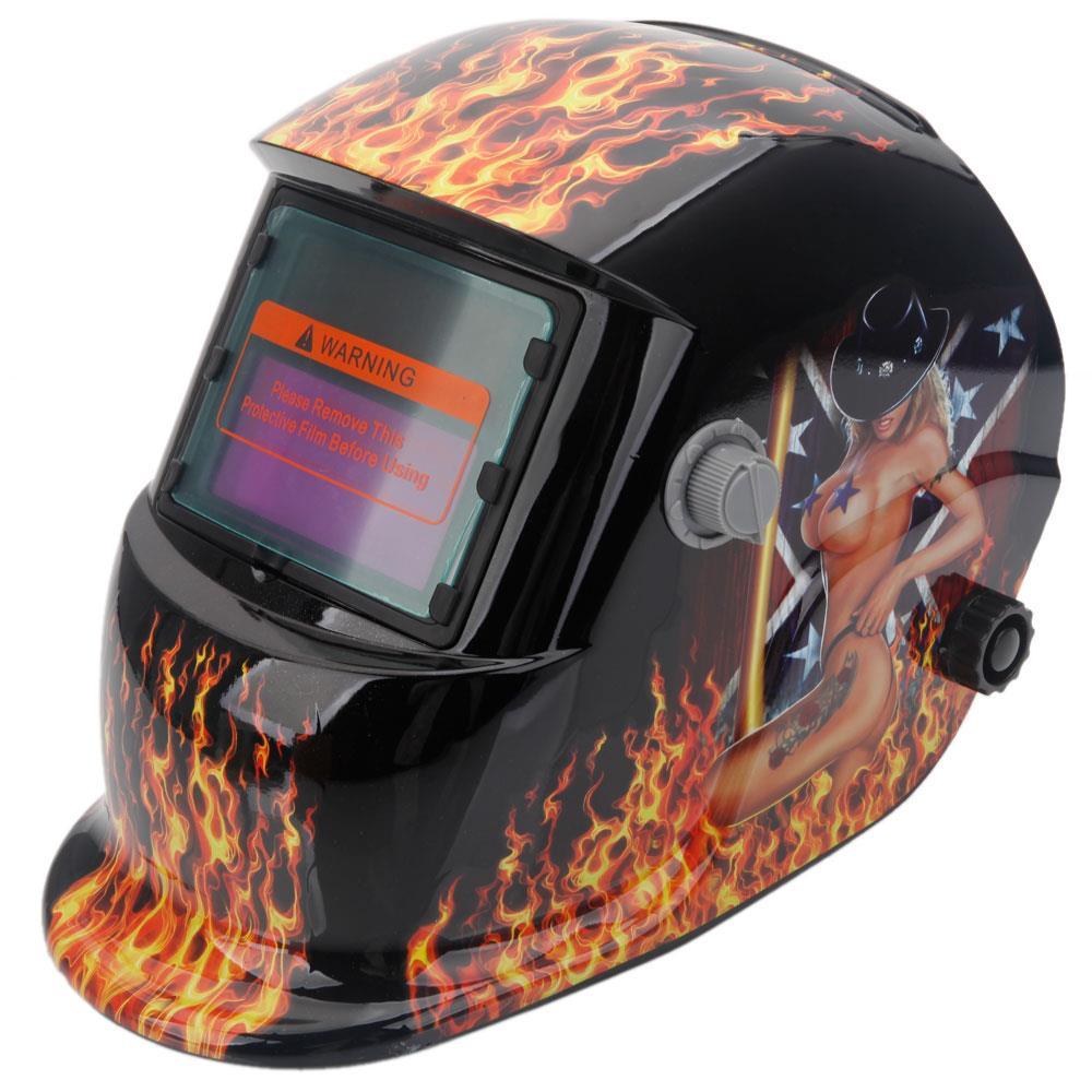 Ktaxon Solar Power Auto Darkening Welding Helmet Variable Shade Range 4/9-13 Mask Grinding Welder Protective Gear Arc Mig Tig,Flame Beauty