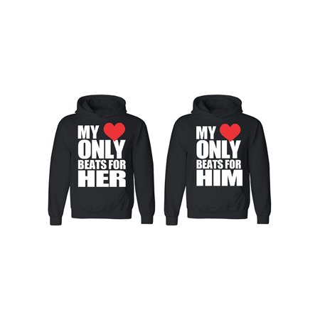 Only Beats For Her - Him Couple Matching Hoodie Valentines Anniversary Christmas Gift Men Small Women Small ()