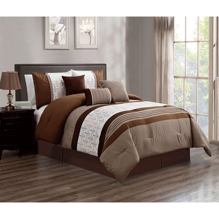 7 Piece Oversized Luxury Embroidery Bed in Bag Microfiber Comforter Set (Camel, Cal King) ()