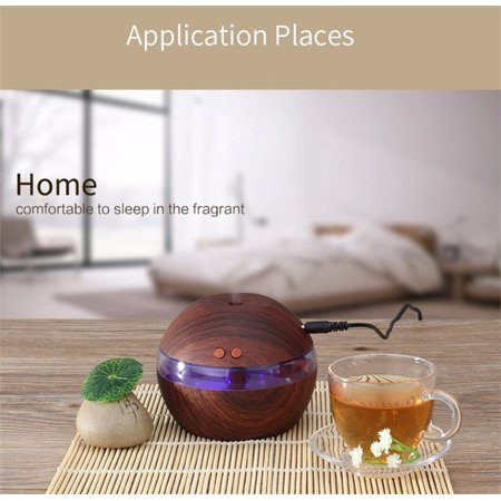 200Ml Aroma Essential Oil Diffuser  Wood Grain Ultrasonic Cool Mist Humidifier For Office Home Bedroom Living Room Study Yoga Spa