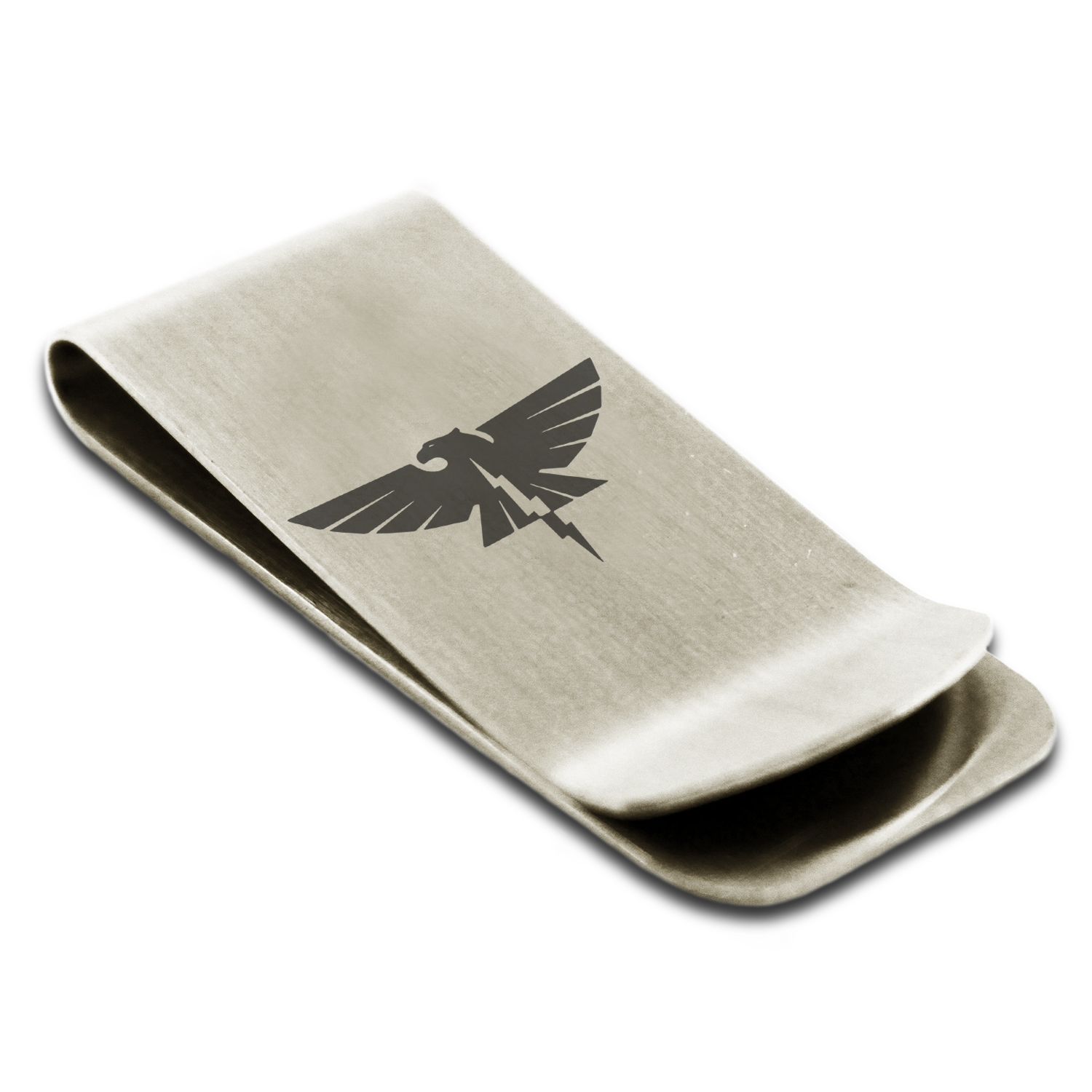 Stainless Steel Zeus Greek God of Sky Symbol Engraved Money Clip Credit Card Holder
