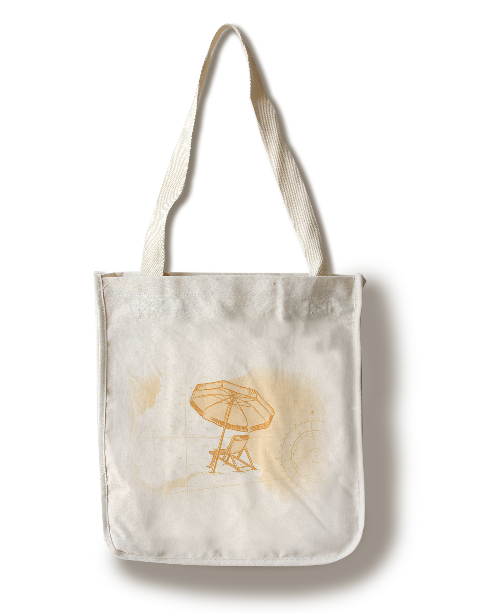 Beach Chair & Umbrella Yellow Coastal Icon Lantern Press Artwork (100% Cotton Tote Bag Reusable) by Lantern Press