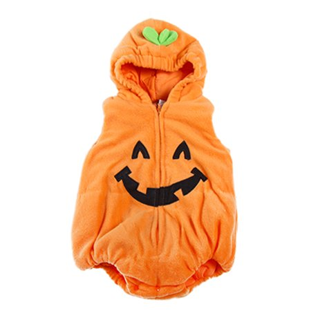 Pumpkin Eyes Halloween (StylesILove Halloween Kid Fleece Pumpkin Costume Comfy Jumpsuit (18-24)