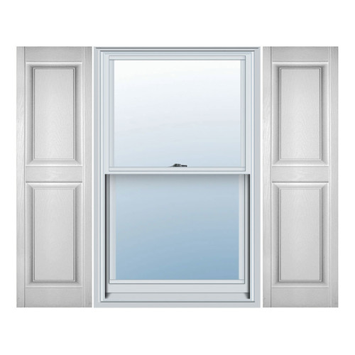 Ekena Millwork Lifetime Vinyl Standard 2 Equal Panels Raised Panel Shutter (Set of 2)
