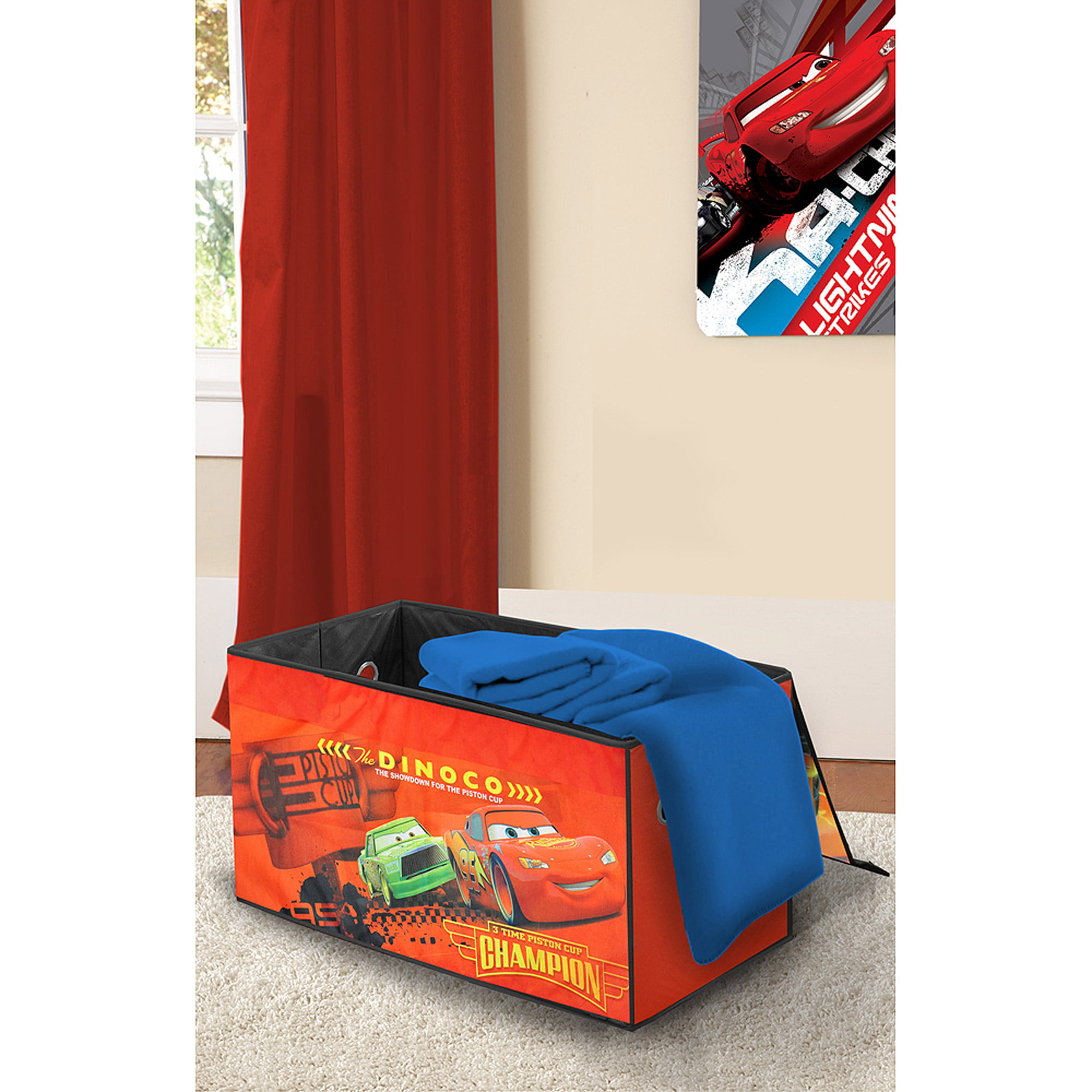 Disney Cars Wooden Toddler Bed with BONUS Collapsible Toy Box