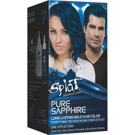 Splat 30 Wash Semi Permanent Hair Dye Kit Pure Sapphire Blue Color - Hair Dye Spray Temporary