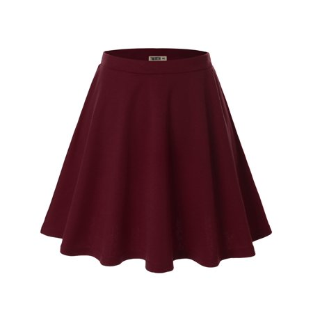Doublju Womens Basic Versatile Stretchy Flared Skater Skirt