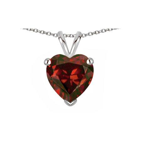 Star K Genuine Garnet 8mm Heart Pendant