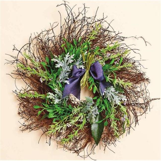 Harvest of Barnstable HGW11 11 inch Twig Wreath With Faux Lavender And Herbs And Purple Bow Herb Gardens