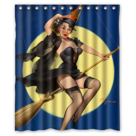 Ganma Sexy Pin Up Girl I'M A Halloween Witch Vintage Retro Pin Up Girls Body Art Work Canvas Painting Style Shower Curtain Polyester Fabric Bathroom Shower Curtain 60x72 inches](Halloween Pin Up Girl Fabric)