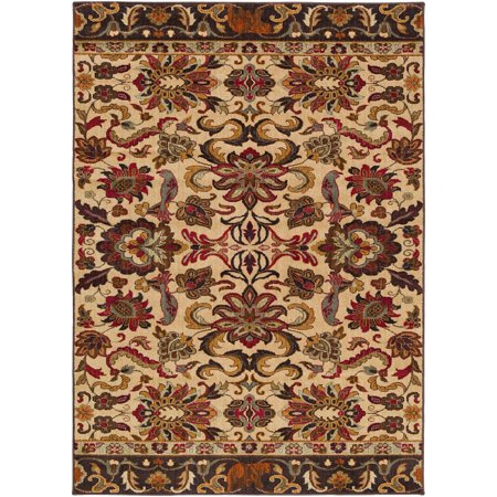 Traditional Agathe Collection Area Rug in Oatmeal and Rectangle Shape
