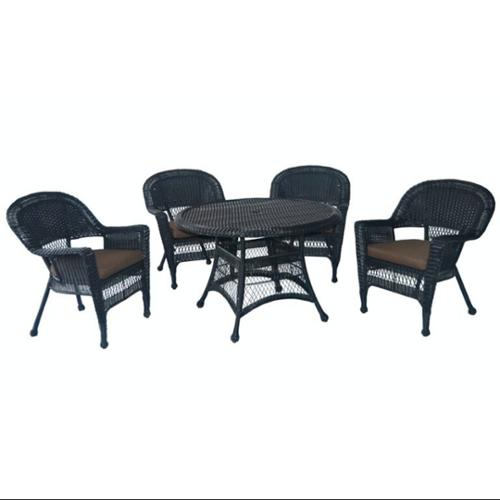 5-Piece Black Resin Wicker Chair & Table Patio Dining Furniture Set Brown Cushions by CC Outdoor Living