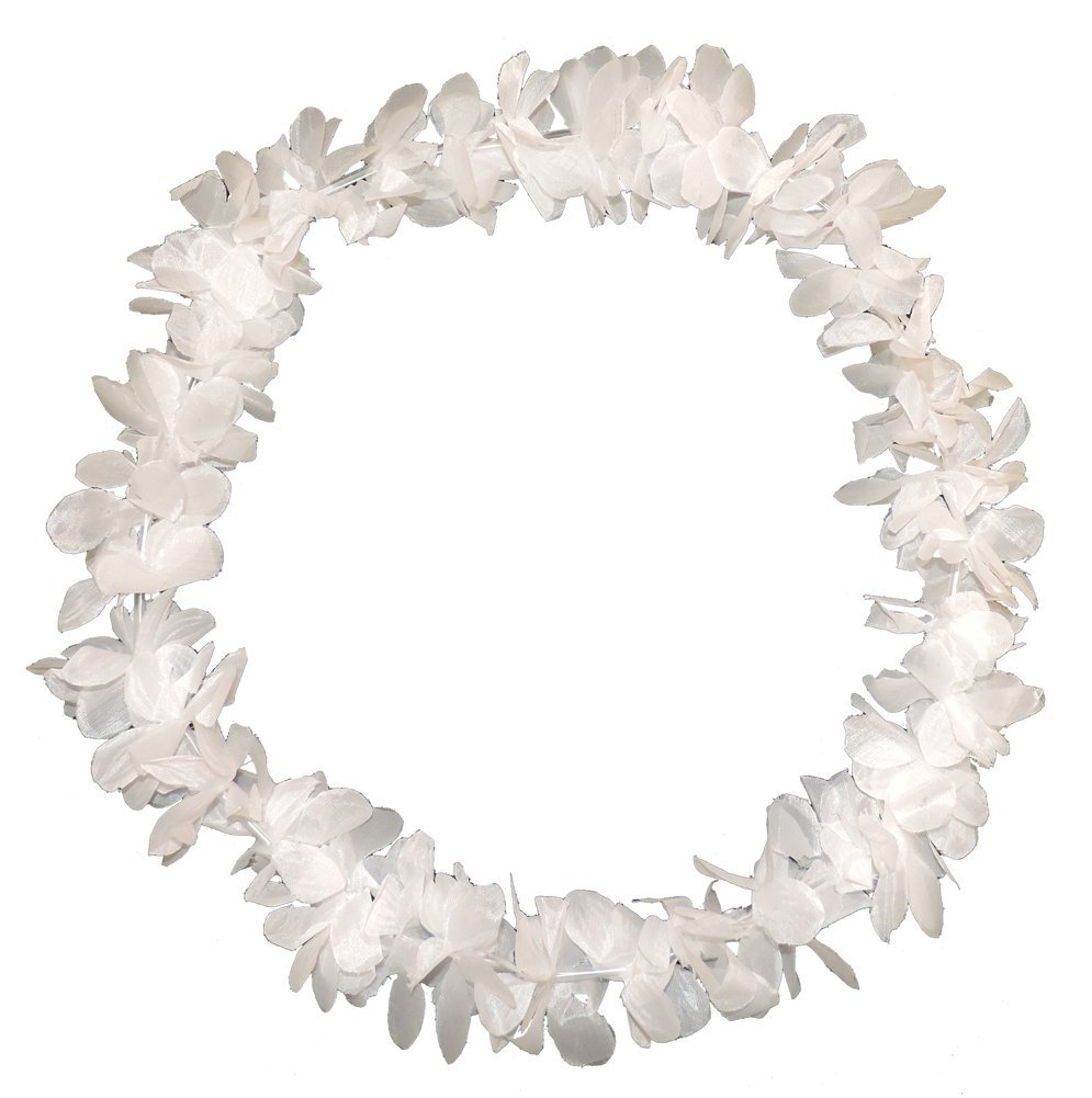 "40"" White Silk Flower Lei Luau Hawaiian Beach Wedding"