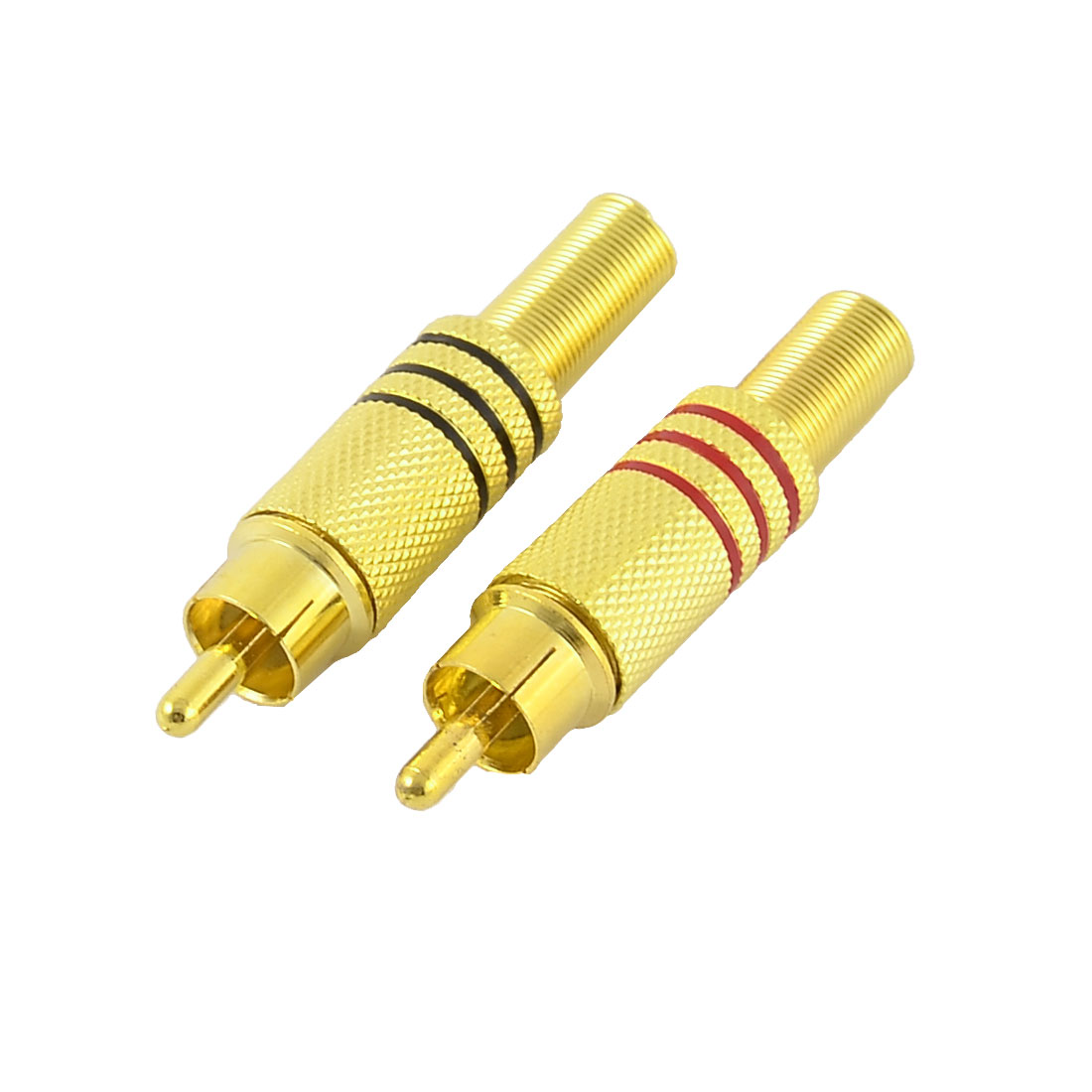 2pcs Metal Spring End RCA Male Plug Jack Audio AV Video Cable Connector Adapter