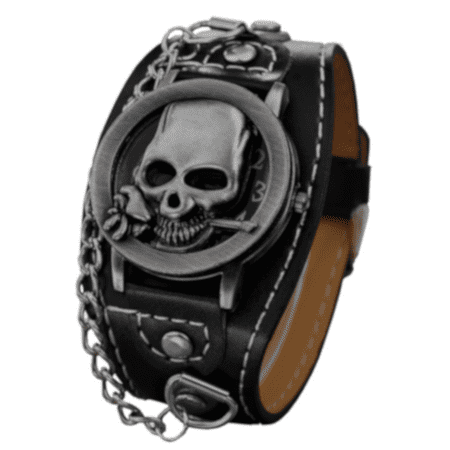 Skull with Rose Antique Silver Color Wide Band Bike Skeleton Glow in Dark Hands Watch-355-A - Glow Bands Online
