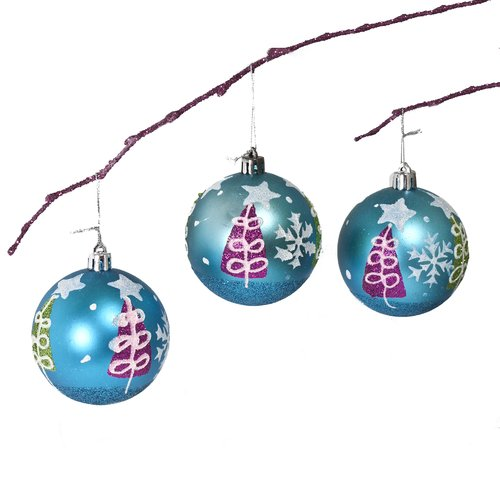 Perfect Holiday 2.75'' Shatterproof Handpainted Christmas Tree Ball Ornament (Set of 3)