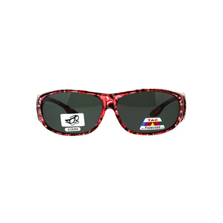 Polarized Womens Rhinestone Bling Fit Over Floral Print 63mm Sunglasses (Printed Sunglasses)