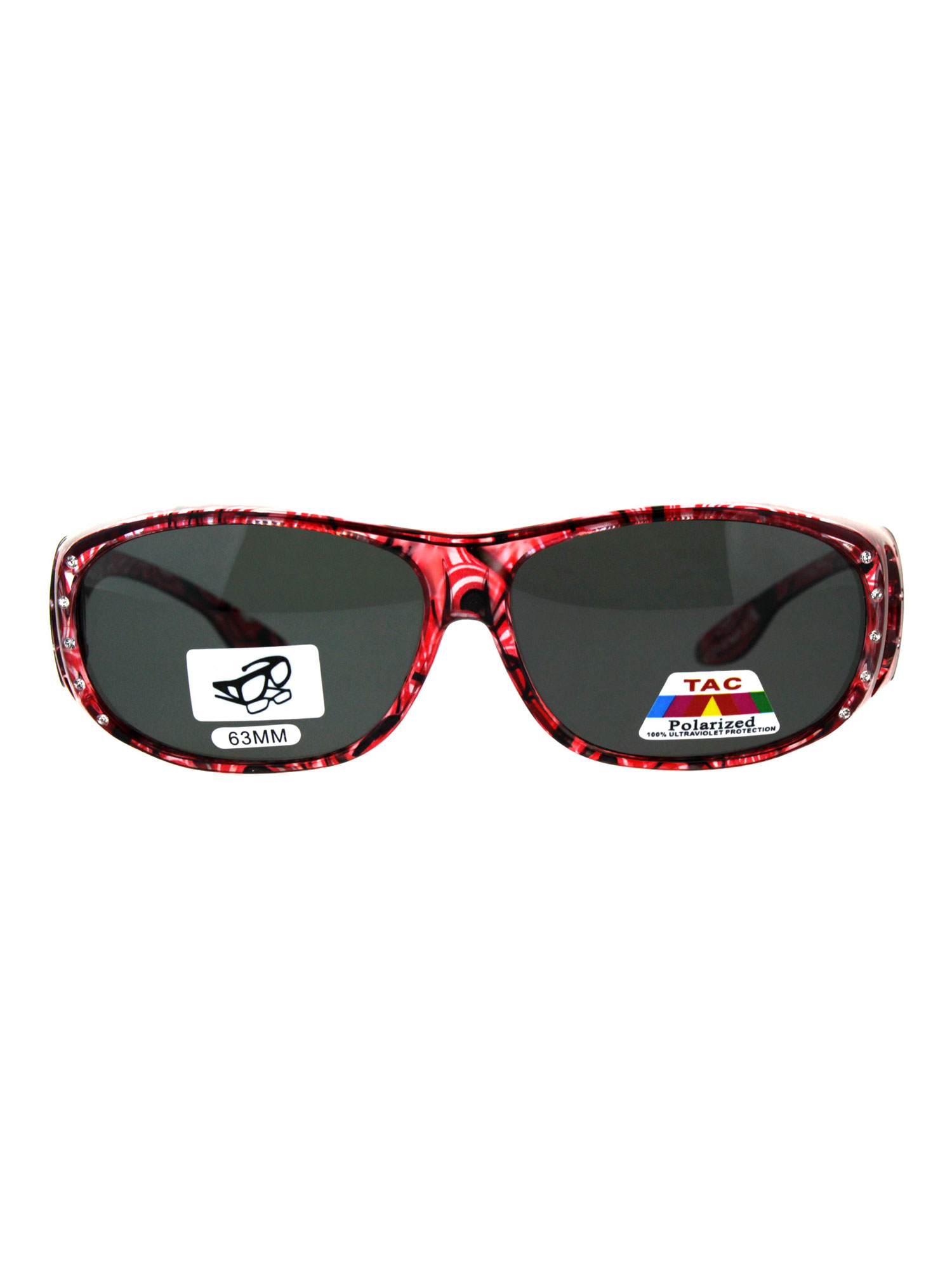 Polarized Womens Rhinestone Bling Fit Over Floral Print 63mm Sunglasses Red