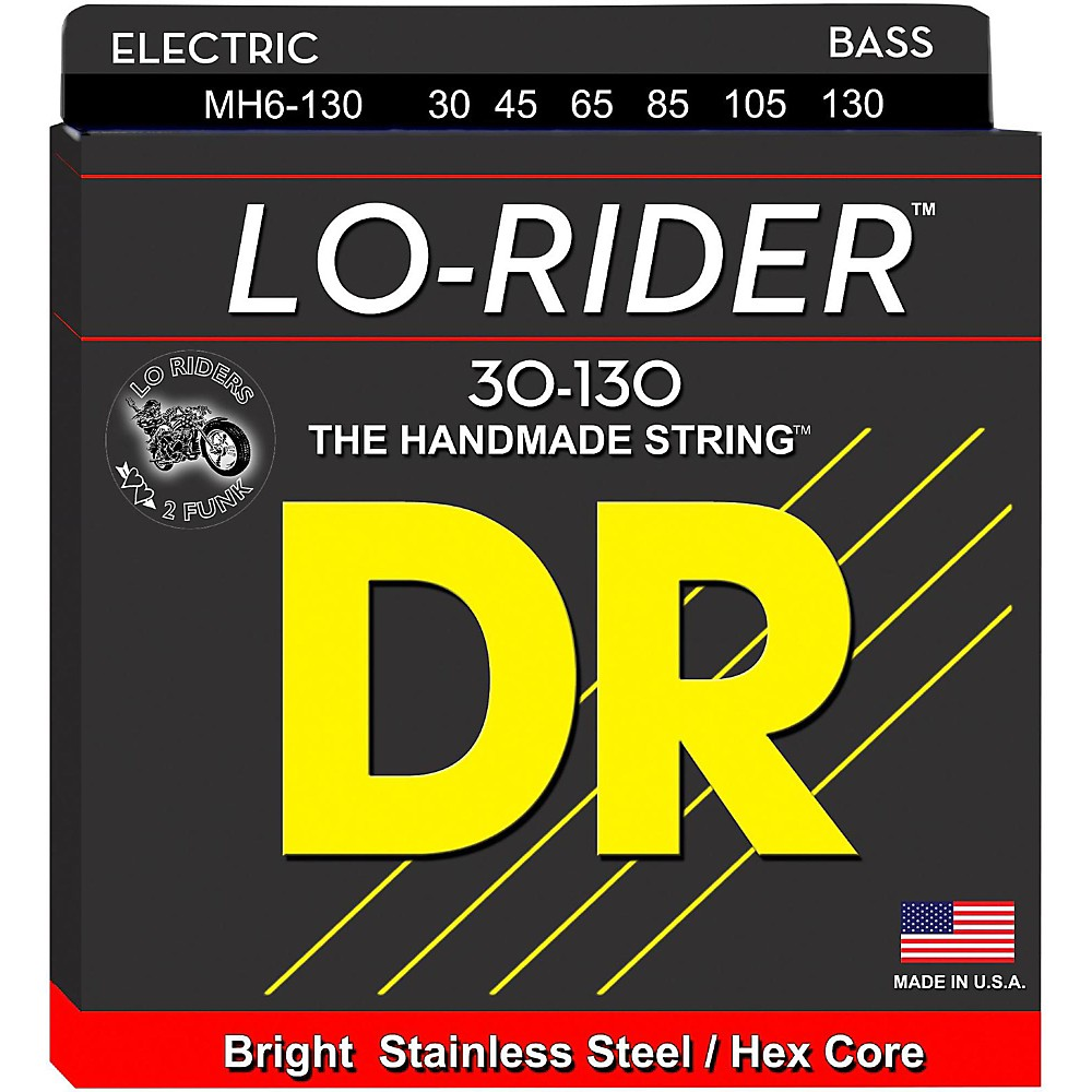 DR Strings Lo Rider MH6-130 Medium Stainless Steel 6 String Bass Strings .130 Low B