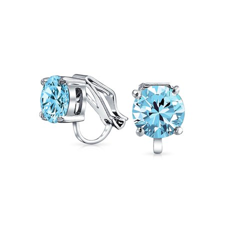 2 CT Brilliant Cut Solitaire Round Cubic Zirconia CZ Clip On Stud Earrings Non Piercing Silver Plated Brass More Colors
