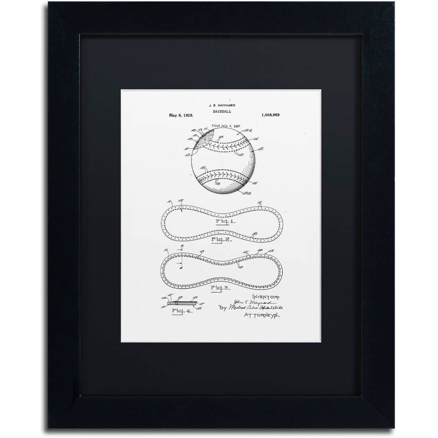 "Trademark Fine Art ""Baseball Patent 1928 White"" Canvas Art by Claire Doherty, Black Matte, Black Frame"