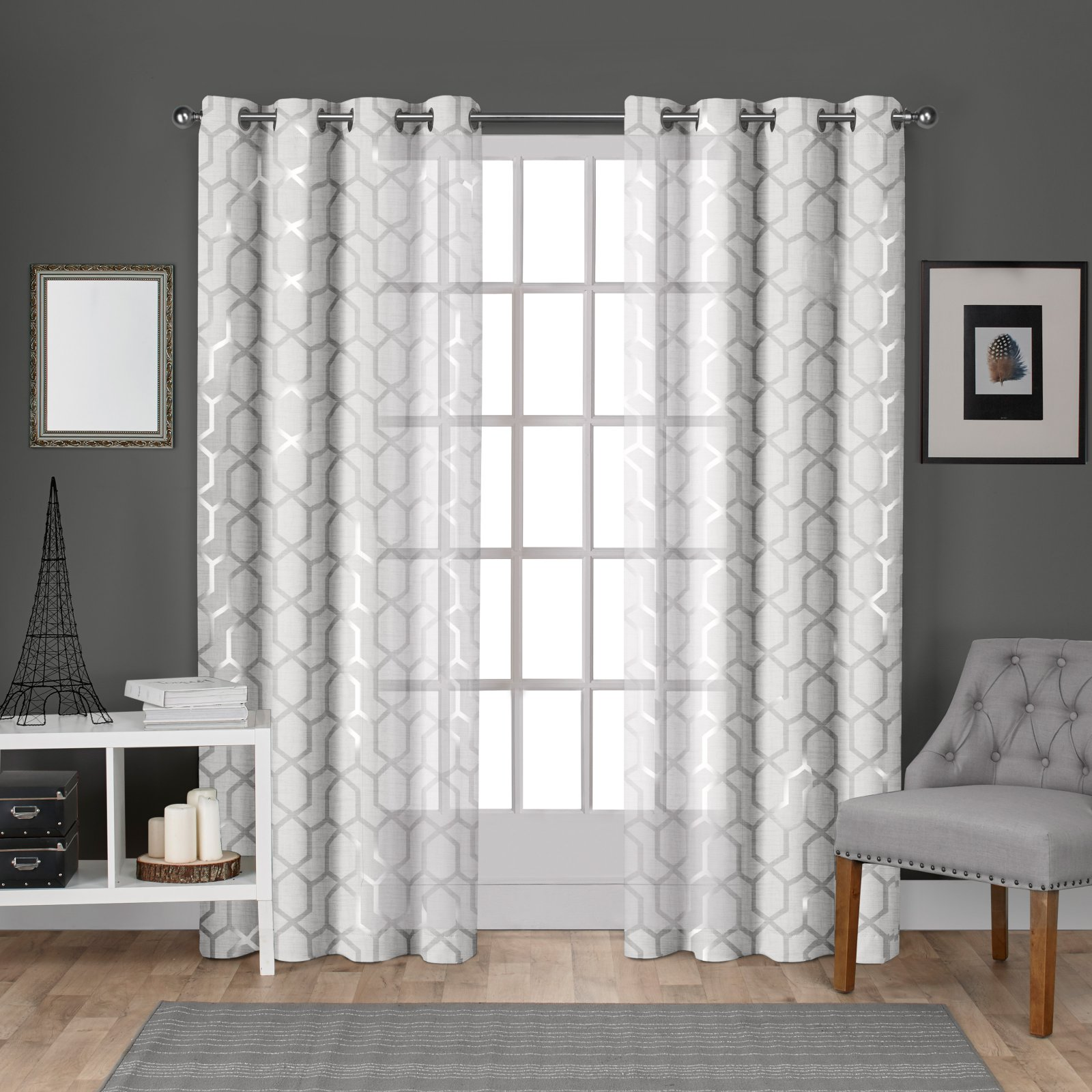 Exclusive Home Panza Metallic Geometric Print Sheer Window Curtain Panel Pair with Grommet Top