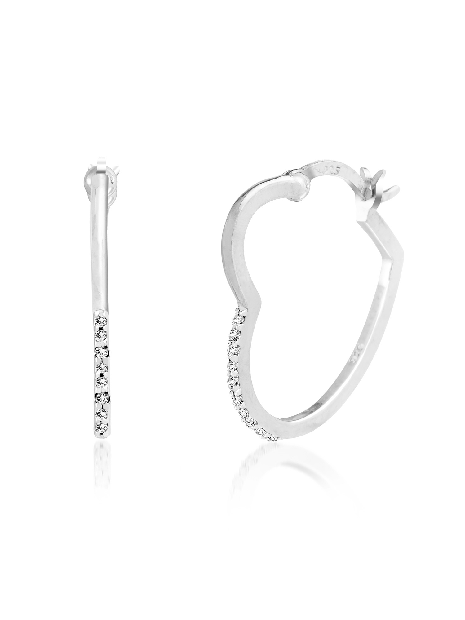 Lumineux Diamond Accent Heart Shaped Hoop Earring