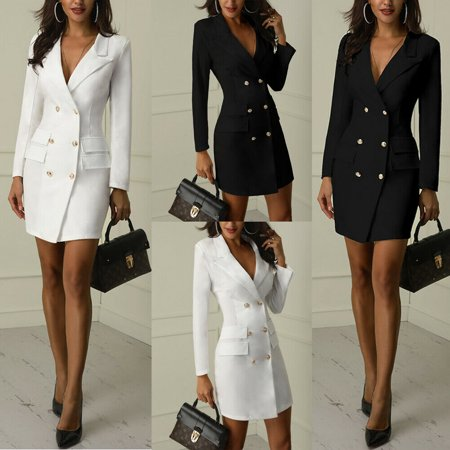 V-neck Women Jacket (Women Bodycon Lapel Blazer Double Breasted Long Sleeve V-neck Mini Dress Jacket )