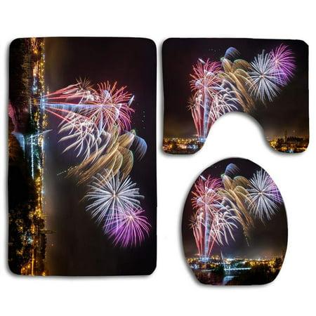 PUDMAD Strabane Halloween Fireworks Display 2017 3 Piece Bathroom Rugs Set Bath Rug Contour Mat and Toilet Lid Cover