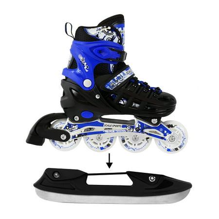 Adjustable Blue Ice Skates Inline Skates Combo Pack Gift Boxed For Kids Size