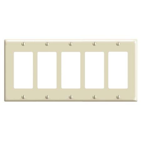 Leviton 80423-I 5-Gang Decora/GFCI Device Decora Wallplate, Standard Size, Thermoset, Device Mount, Ivory Decora Wall Mount Plate
