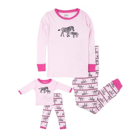 Leveret Kids Pajamas Matching Doll & Girls Pajamas 100% Cotton Pjs Set (Zebra,Size 10 Years) - Mother Daughter Matching Pjs