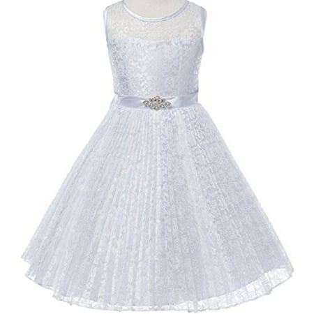Big Girls' Pleated Lace Illusion Top Sunburst Skirt Flowers Girls Dresses White Size 8