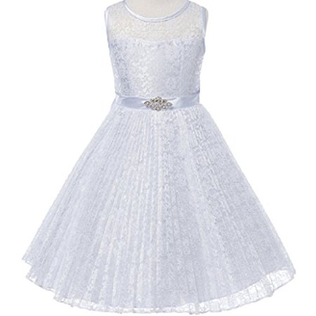 Big Girls' Pleated Lace Illusion Top Sunburst Skirt Flowers Girls Dresses White Size 8 - Blue Jumpsuit