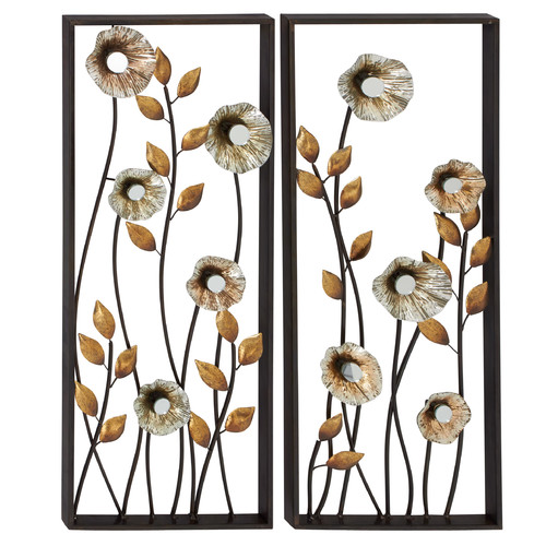 Woodland Imports 2 Piece Beautiful and Elegant Metal Wall D cor Set