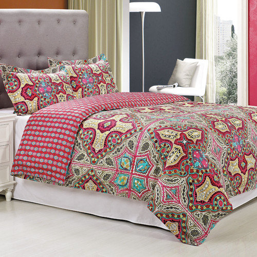 Simple Luxury Wildberry 3 Piece Duvet Cover Set