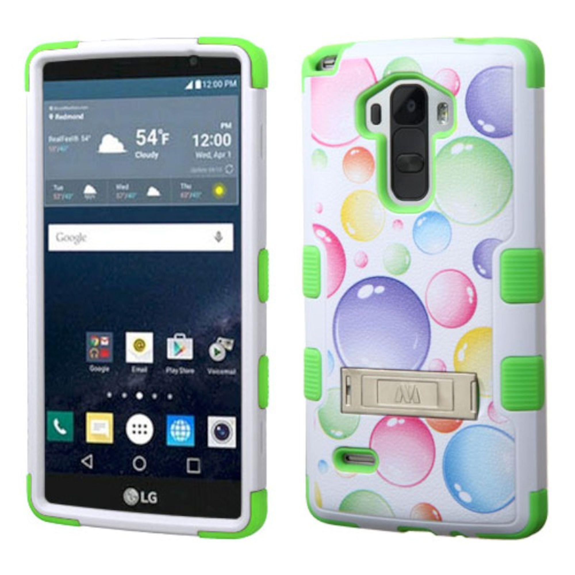 Insten Tuff Rainbow Bubbles Hard Hybrid Rubber Silicone Cover Case w/stand For LG G Stylo - Green/White