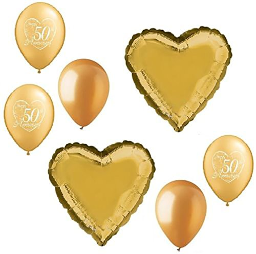 "Custom, Fun & Cool {Big Large Size 11""- 18"" Inch} 7 Pack of Helium & Air Inflatable Mylar Aluminium Foil/Latex Balloons w/ Happy 50th Anniversary Hearts Design [Variety Assorted Multicolor in Gold]"