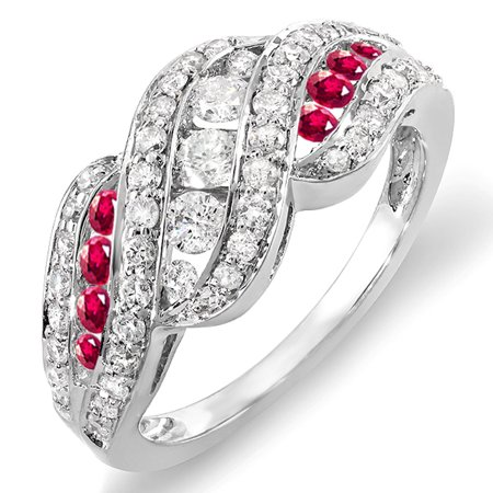 Dazzlingrock Collection 14K Round White Diamond And Ruby Ladies Cocktail Right Hand Ring, White Gold, Size 9