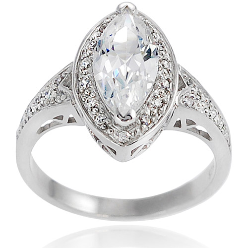 Alexandria Collection Sterling Silver Marquis-Cut Cubic Zirconia Engagement Ring