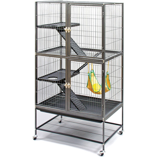 Prevue Pet Products Feisty Ferret Home with Stand, Black Hammertone