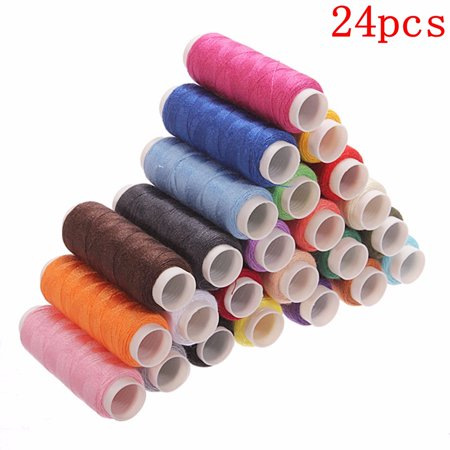 24pcs 220 Yards Multi Color Cotton Sewing Machine Thread Spools Reel Cord String,Spool of Nylon Sewing Thread  for Hand and Machine Sewing Today's Special Offer!