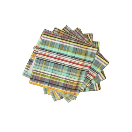 Cocktail Napkins Distressed Plaid Gingham Vintage Grungy Stripes Set of (Gingham Cocktail)