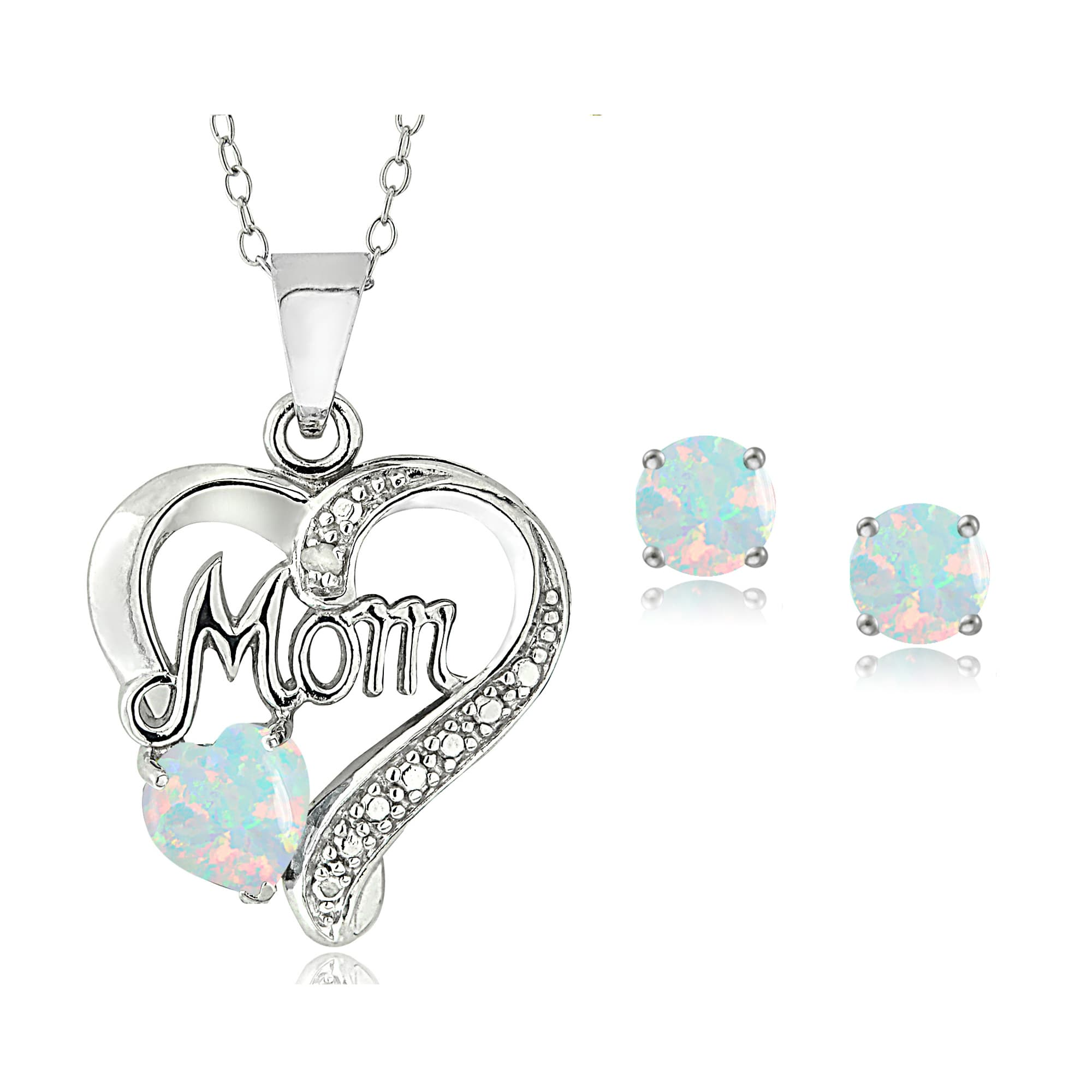 Glitzy Rocks Sterling Silver Created Opal & Diamond Accent Heart MOM Necklace and Earrings Set